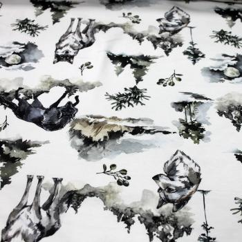 French Terry aquarell Wolf Werwolf im Wald wie gemalt