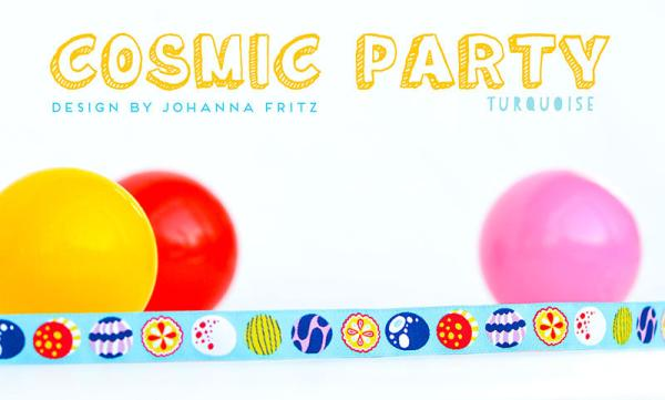 1,60 EUR/m Cosmic-Party türkis Webband-1