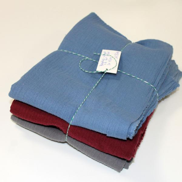 Musselin Set Nr 2 - jeans - bordeaux - grau -